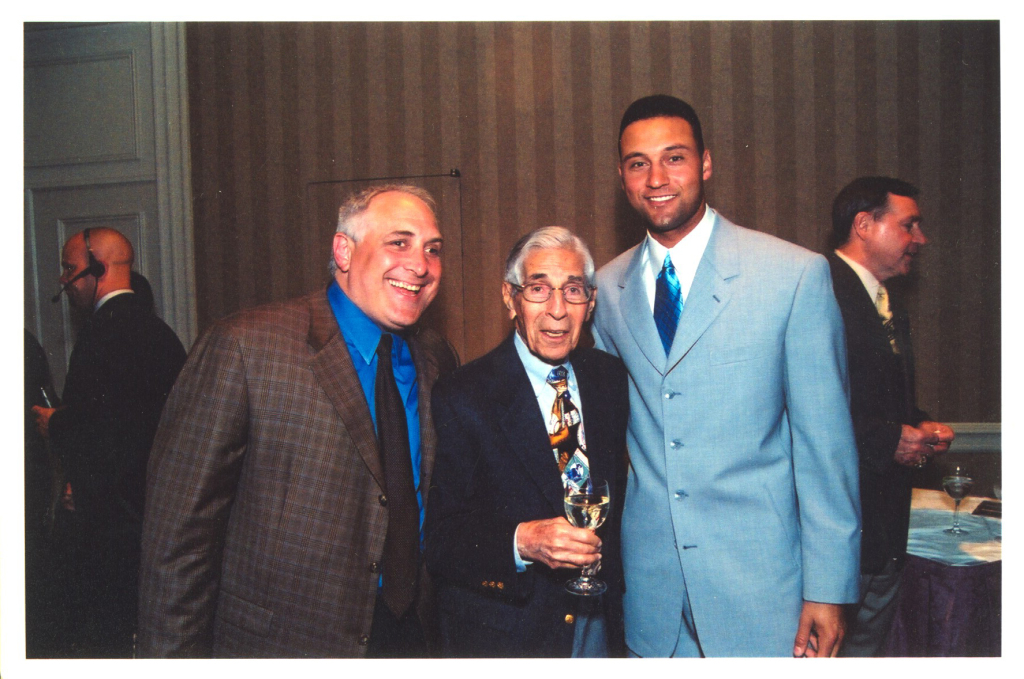 Brandon Steiner, left, with Phil Rizzuto, one of Brandon's first clients, and the man who told Brandon to pursue Derek Jeter, right, when Jeter was first starting out!