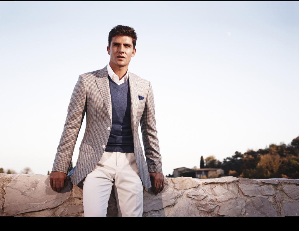 model in white pants